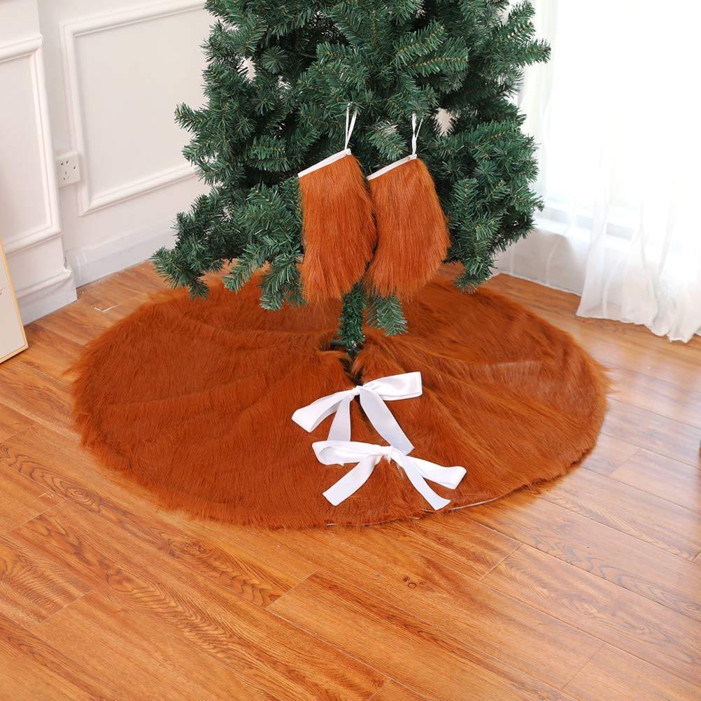 Braun Weihnachten Saisonale Deko BESTOYARD Weihnachtsbaum Rock Lange Plüsch Weihnachtsbaumdecke Tannenbaum Unterlage Weihnachten Deko 78cm