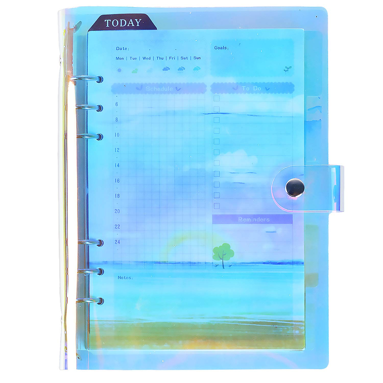 Rancco A5 Writing Notebook 6-Ring Refillable Loose Leaf Binder Journal Personal Daily Planner Travel Diary Agenda Time Management,Notepad Cover+90 Insert Page+6 Index Divide+Ruler+Calendar+Card Pocket