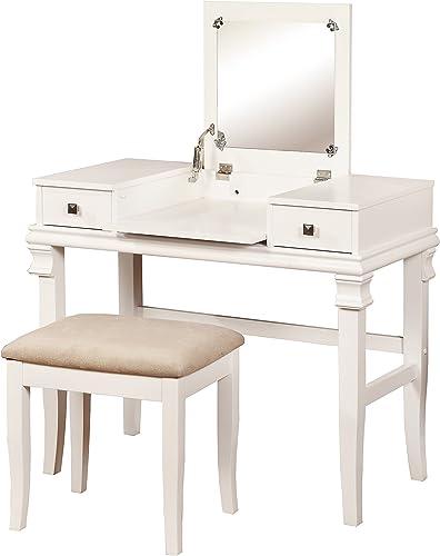 Linon Angela Vanity Set, White, 30 x 36 x 18 ,
