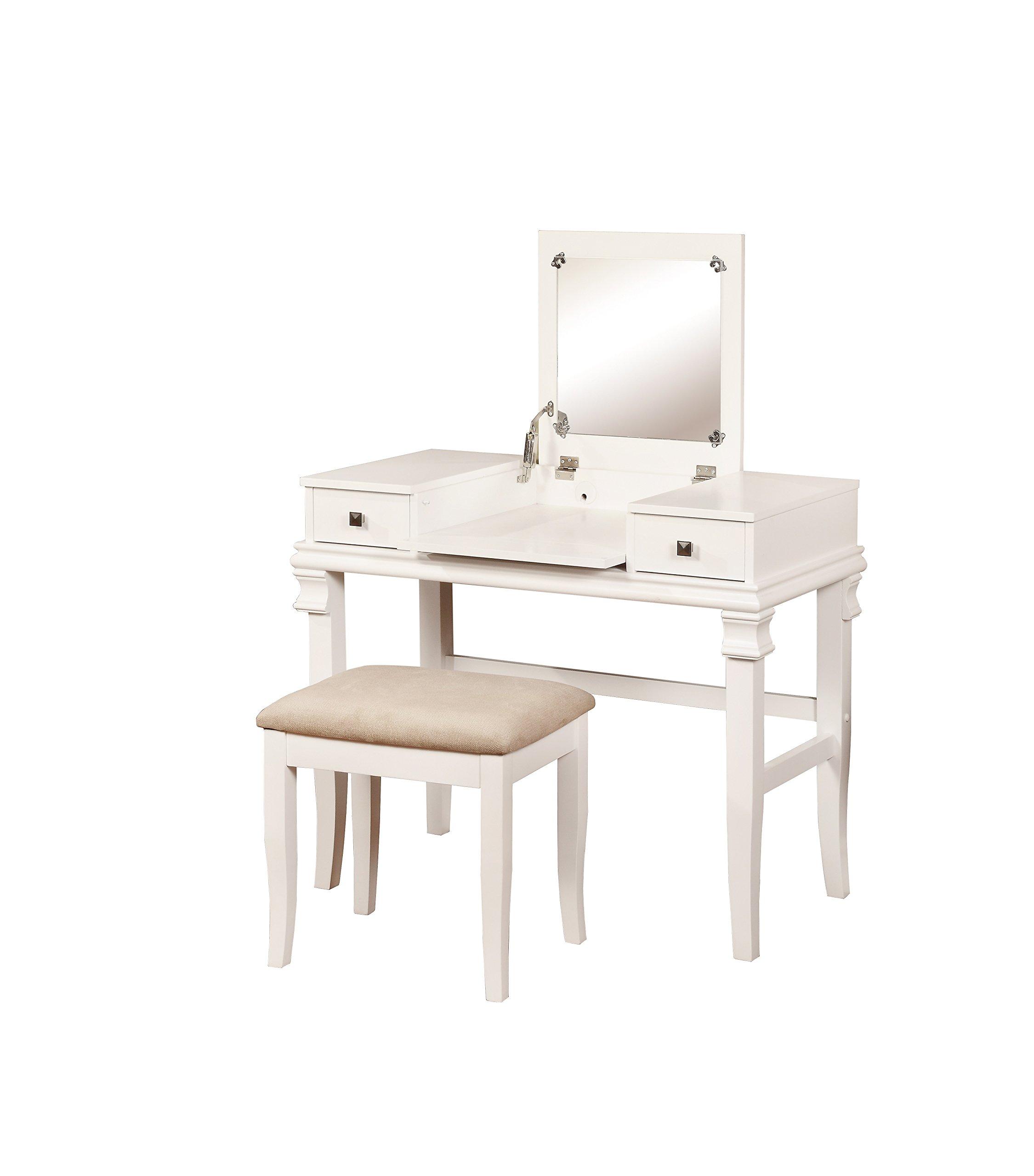 Linon 98373WHT-01-KD-U Angela Vanity Set, White, 30'' x 36'' x 18'', by Linon