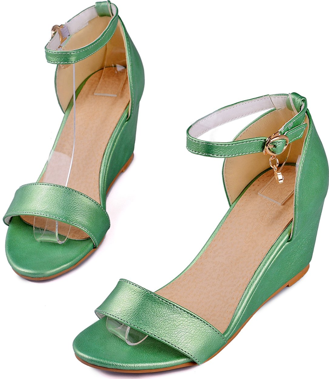 KingRover Women's Pendant Open Toe Single Band Ankle Strap Comfy Shoes Mid Heels Wedge Sandals B07C9SH1V2 5 B(M) US|Green