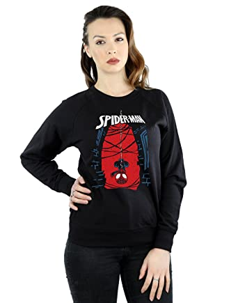 38dc4335 Amazon.com: Marvel Women's Spider-Man Hanging Sketch Sweatshirt: Clothing