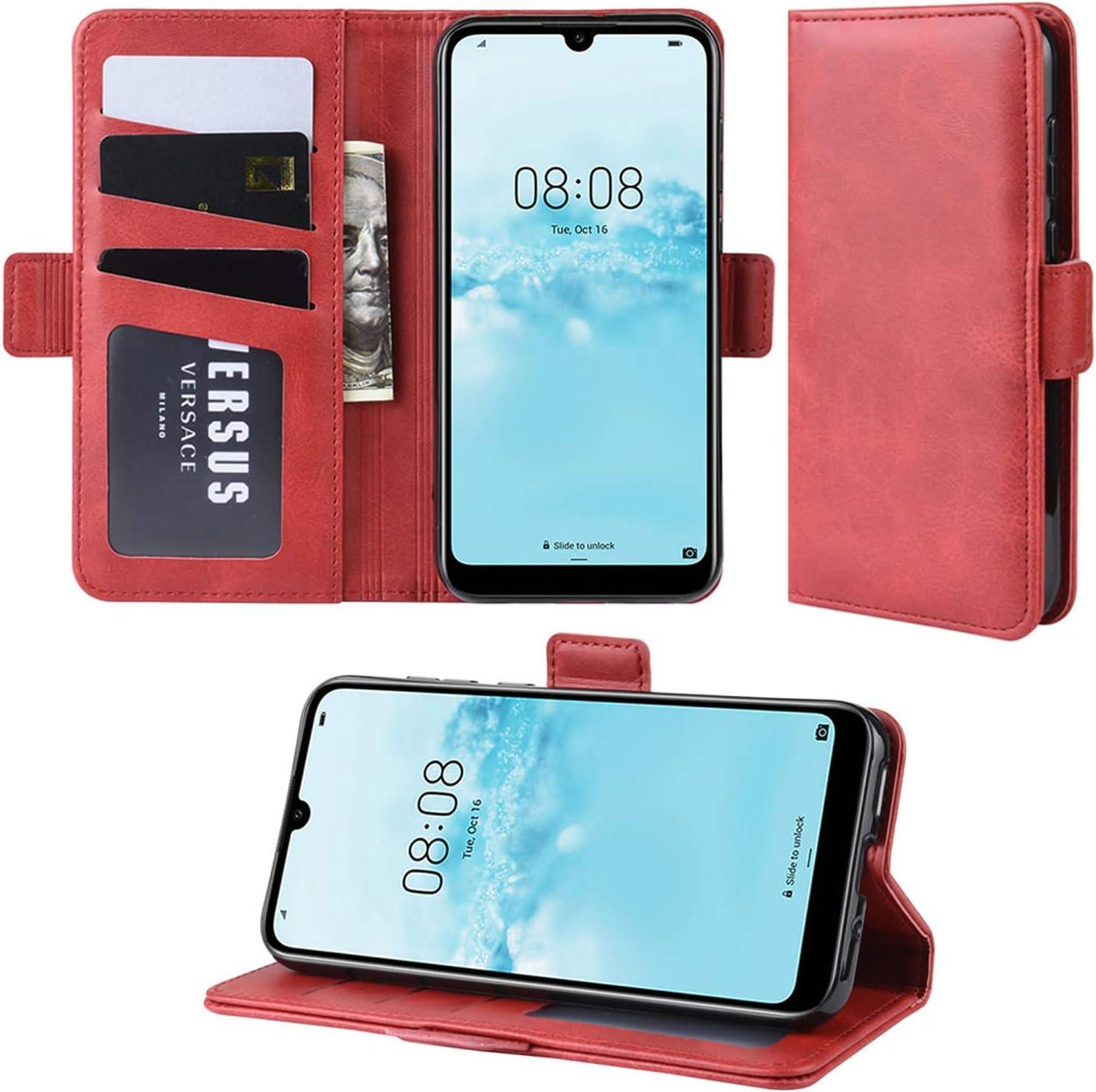 Funda Libro de Cuero PU Premium con Ranura para Tarjetas y Cartera Flip Cover Magn/ético Carcasa para Huawei P Smart 2020 Case Rojo HualuBro Funda para Huawei P Smart 2020