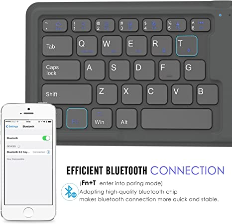 MoKo Teclado Inalámbrico Bluetooth - Universal Portátil Plegable/Magnético Wireless Keyboard (QWERTY) para MacBook/iMac/Android PC/Tableta/Ordenador, ...