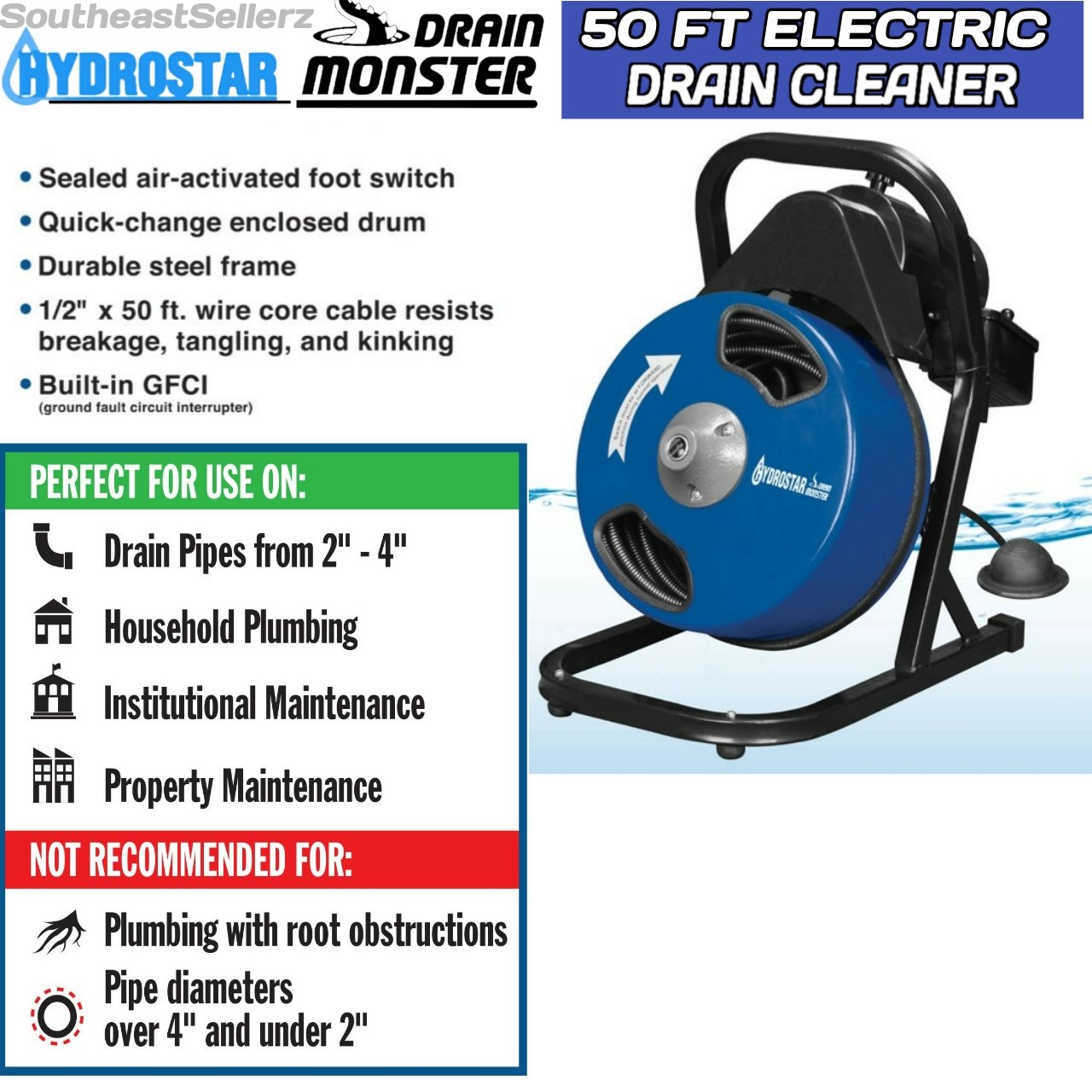 1 2 Inch By 50 Feet Compact Electric Drain Cleaner Drum Auger Snake Dont Know If All Switches Are The Same Maybe They To 4 Pipes With Built In Gfci And Many Accessories