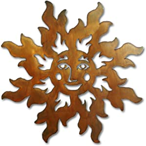 Floating Happy Sun Face Indoor/Outdoor Metal Wall Art - 12 inches Wide - Rust Finish - Made in USA