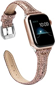 Wearlizer Thin Glitter Leather Compatible with Apple Watch Band 38mm 40mm Womens for iWatch SE Slim Wristband Glistening Strap Replacement Bracelet with Silver Metal Clasp Series 6 5 4 3 2 1-Coffee