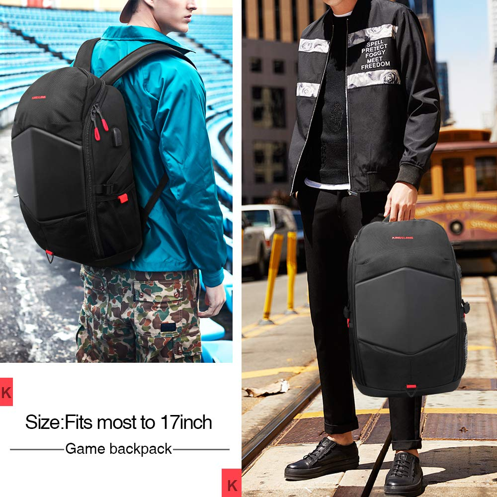 Laptop Backpack 17.3 Inch Gaming Backpack with USB Charger Port Rain Cover  Waterproof Business School Travel 1468845ebd387