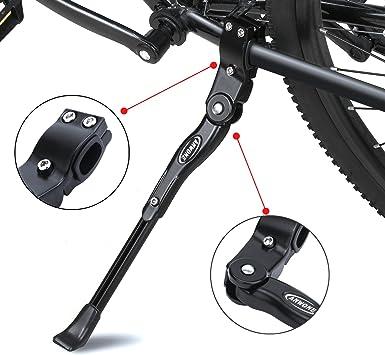 ANWONE Caballete Lateral Ajustable, Soporte de Bicicleta de aleación Ajustable MTB con pie de Goma Antideslizante, Soporte de pie de aleación Universal para Bicicleta 22