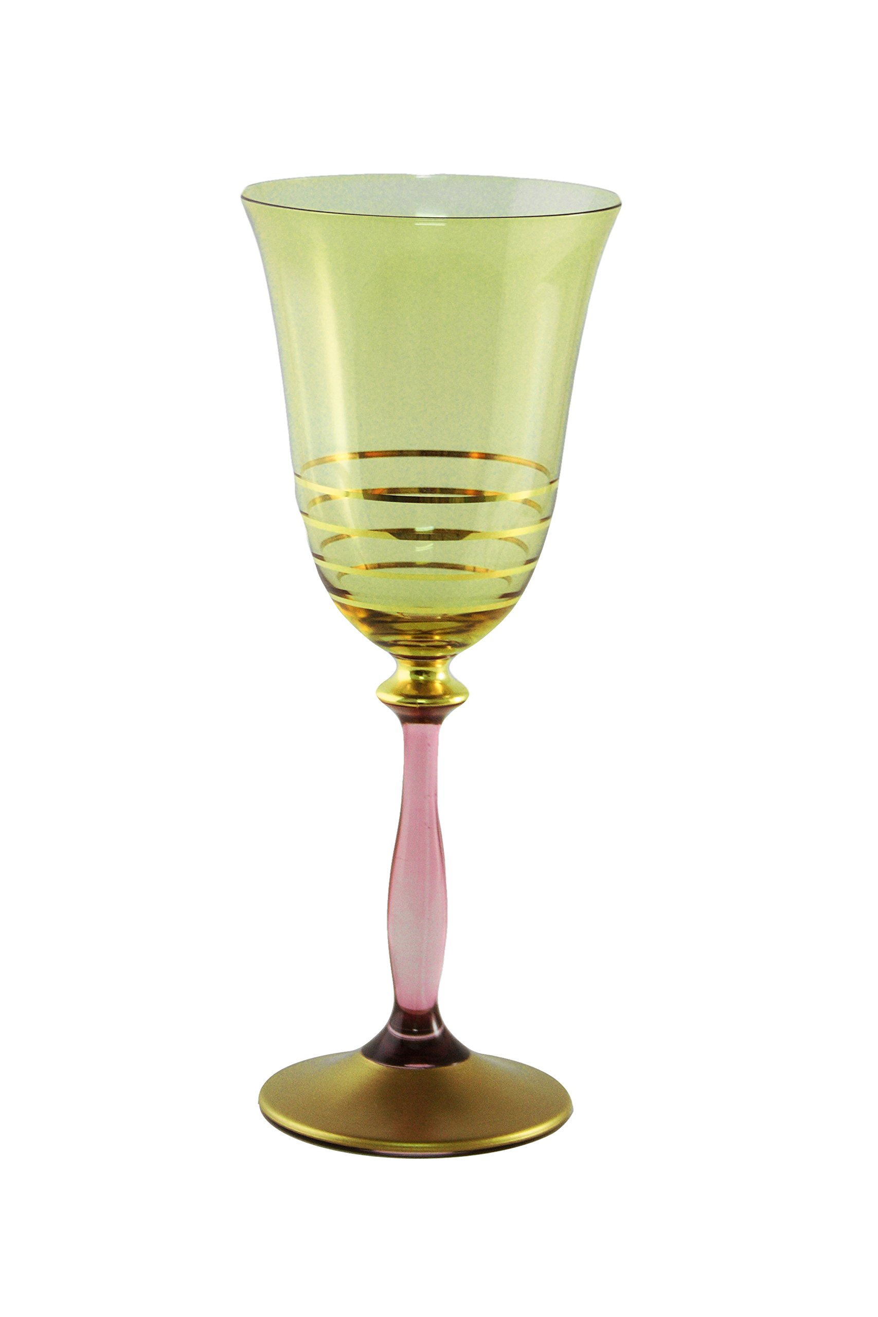 Classic Touch CWG914/GA Amber Water Glasses with Green Stem Designed with 14 Karat Gold, 8-Inch, Set of 6