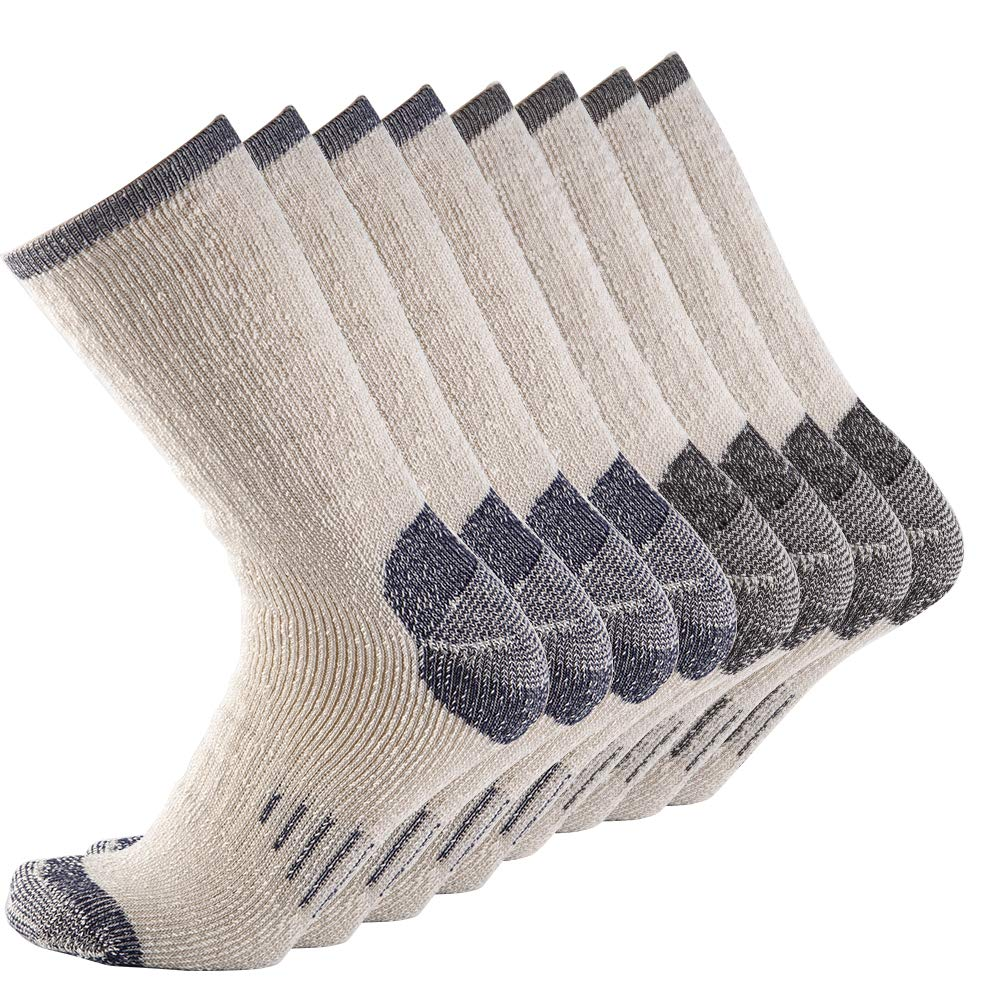 Men 70% Merino wool Crew Socks - NEVSNEV Warm Socks for Men, Athletic Socks for Hiking, Skiing,Trekking,Camping (4 Pair BLACKx2+NAVYx2) by NEVSNEV