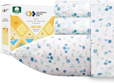 Amazon Com 400 Thread Count 100 Cotton Queen Sheets Printed Blooming Meadows 4 Piece Bedding Lightweight Sateen Weave Natural Cotton Bed Sheets Deep Pocket Fits Mattress 16 Inches Home Kitchen
