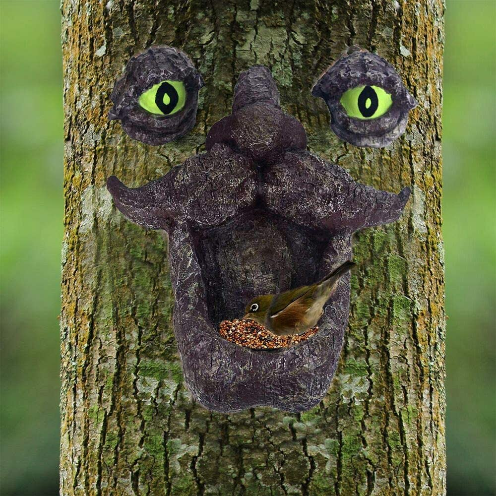 JHP Tree Face Bird Feeder, Hand-Painted Outdoor Old Man Wild Bird Feeder Whimsical Tree Sculpture with Glow in The Dark Eyes for Garden Decor and Yard Art.