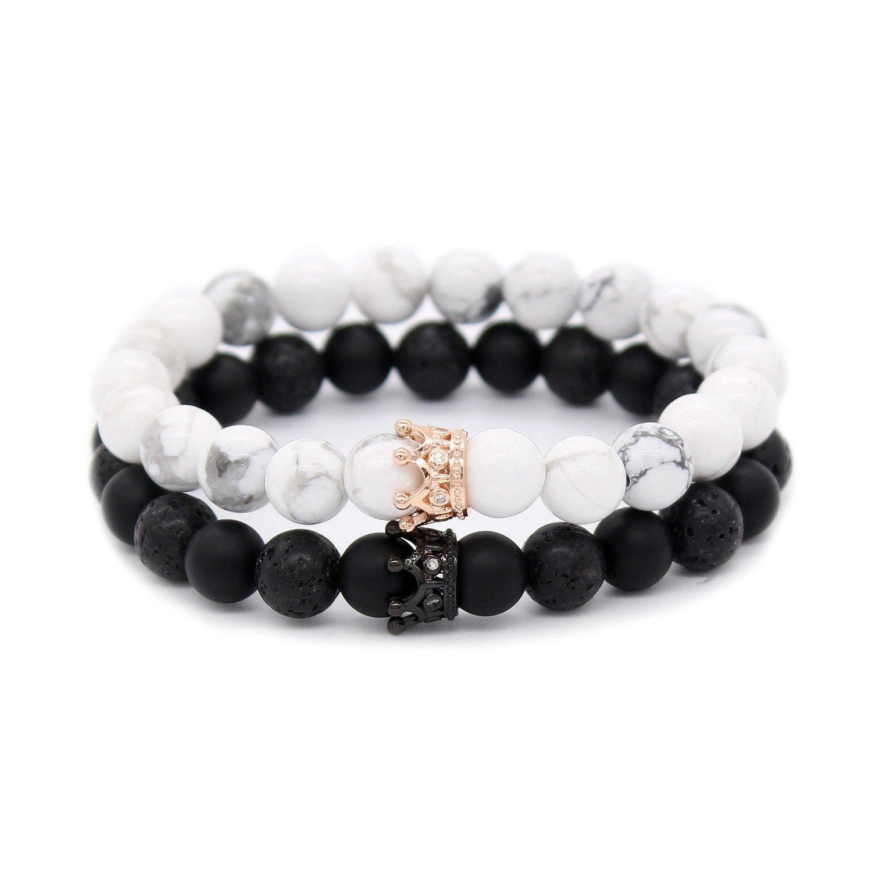 POSHFEEL Couple Black Matte Agate & White Howlite CZ Crown Queen 8mm Beads Bracelet, 7.5'' Black&White