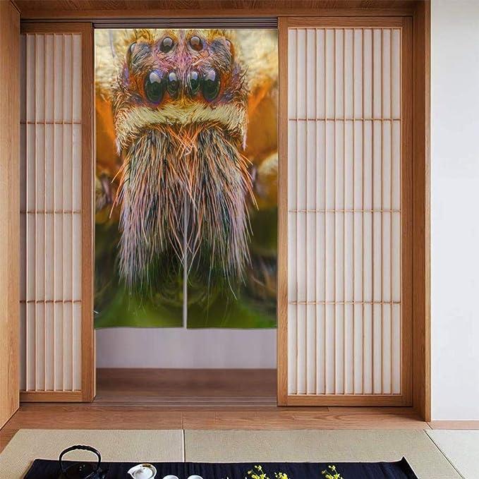 Gagh Noren Doorway Curtain Door Curtains Unique Macro Spider Door Tapestry Curtain Noren Curtain Tapestry Noren Japanese Door Curtain Kitchen Curtain Two Piece Home Kitchen