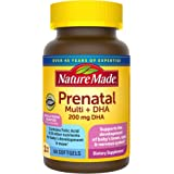 Nature Made Prenatal Multivitamin + 200 mg DHA Softgels with Folic Acid, Iodine and Zinc, 60 Count (Packaging May Vary)