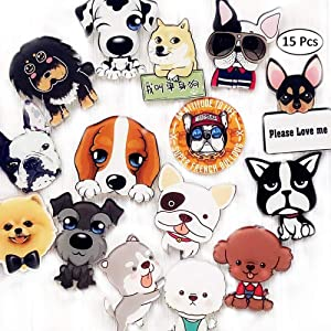 Magnets Refrigerator Acrylic Creative Cute Pet Dogs Home Decoration Creative Refrigerator Magnets(15 pieces) (15 pcs)
