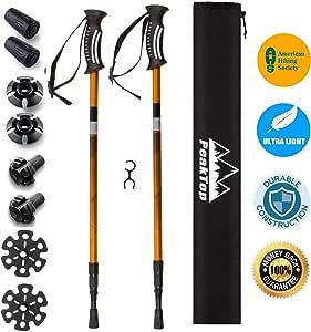 Trek PRO Hiking Poles - 1 Pair - Trekking/Walking/Climbing - 100% Tungsten Carbide Tips, Ultralight, Adjustable Height, Anti-Shock