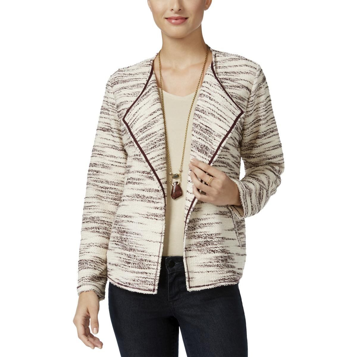 Style & Co. Womens Petites Open Knit Collarless Blazer Ivory PM