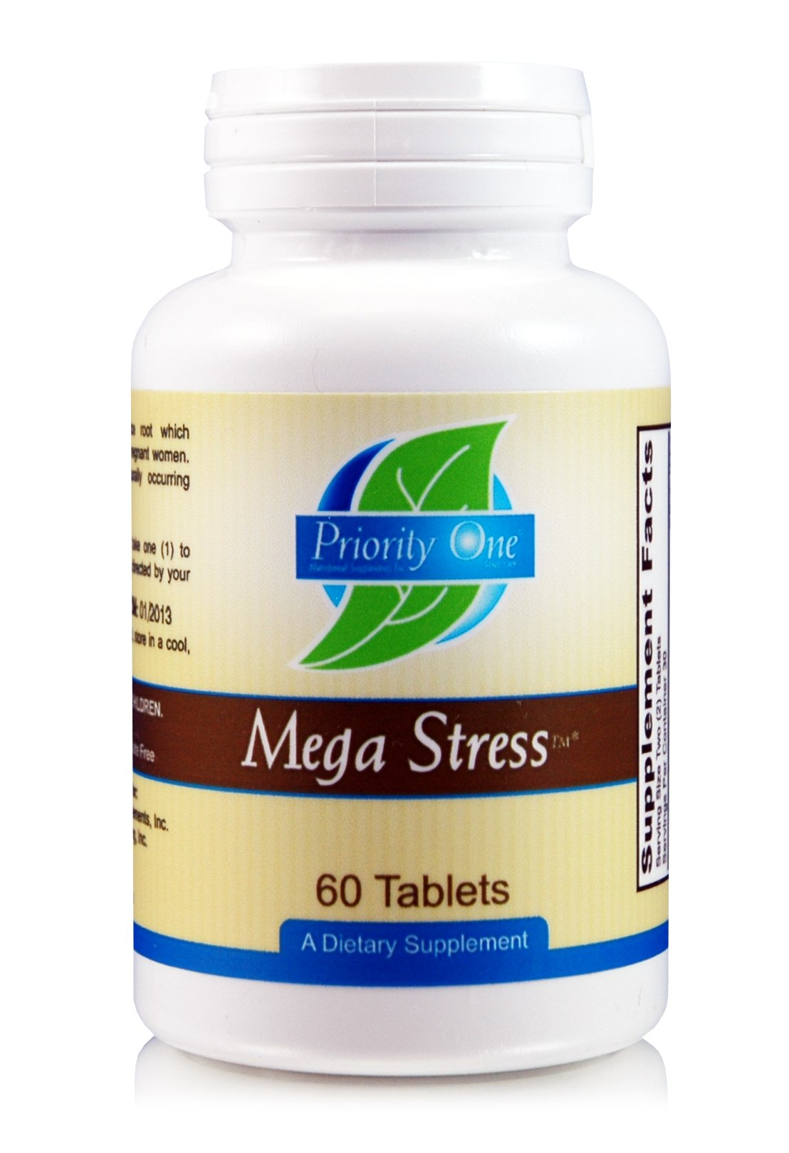 Priority One Vitamins Mega Stress 60 Tablets - High Potency B Vitamin Complex with The Benefits of Adrenal - Healthy Energy Production.*