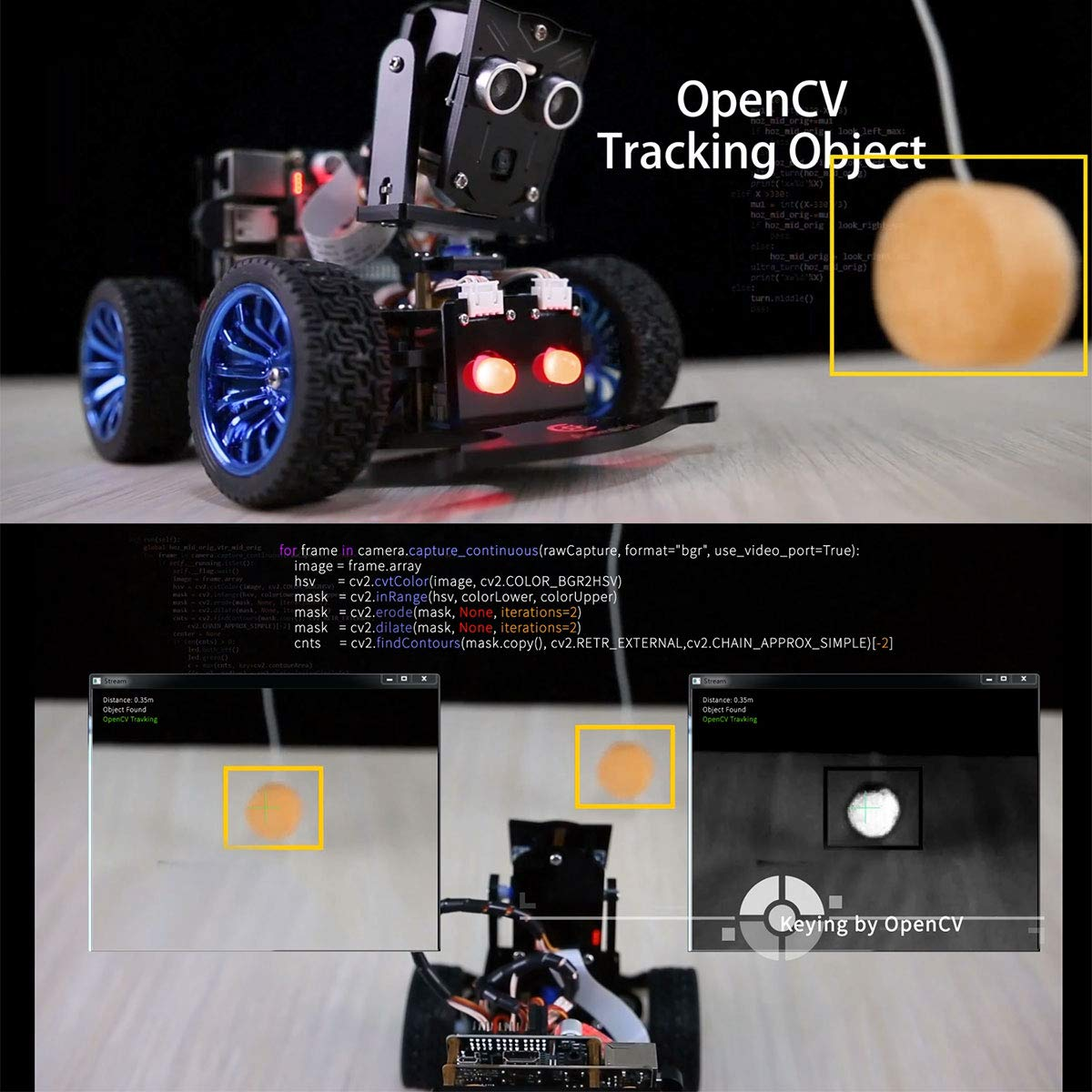 Adeept Mars Rover PiCar-B WiFi Smart Robot Car Kit for Raspberry Pi 3 Model B+/B/2B, Speech Recognition, OpenCV Target Tracking, Video Transmission, STEM Educational Robot with PDF Instructions by Adeept (Image #2)