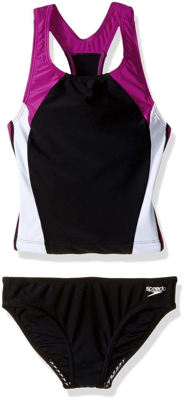 Speedo Big Girls' Solid Infinity Splice Tankini Set Swimsuit, New Blush, 12 Speedo Girls 7-16 7142086