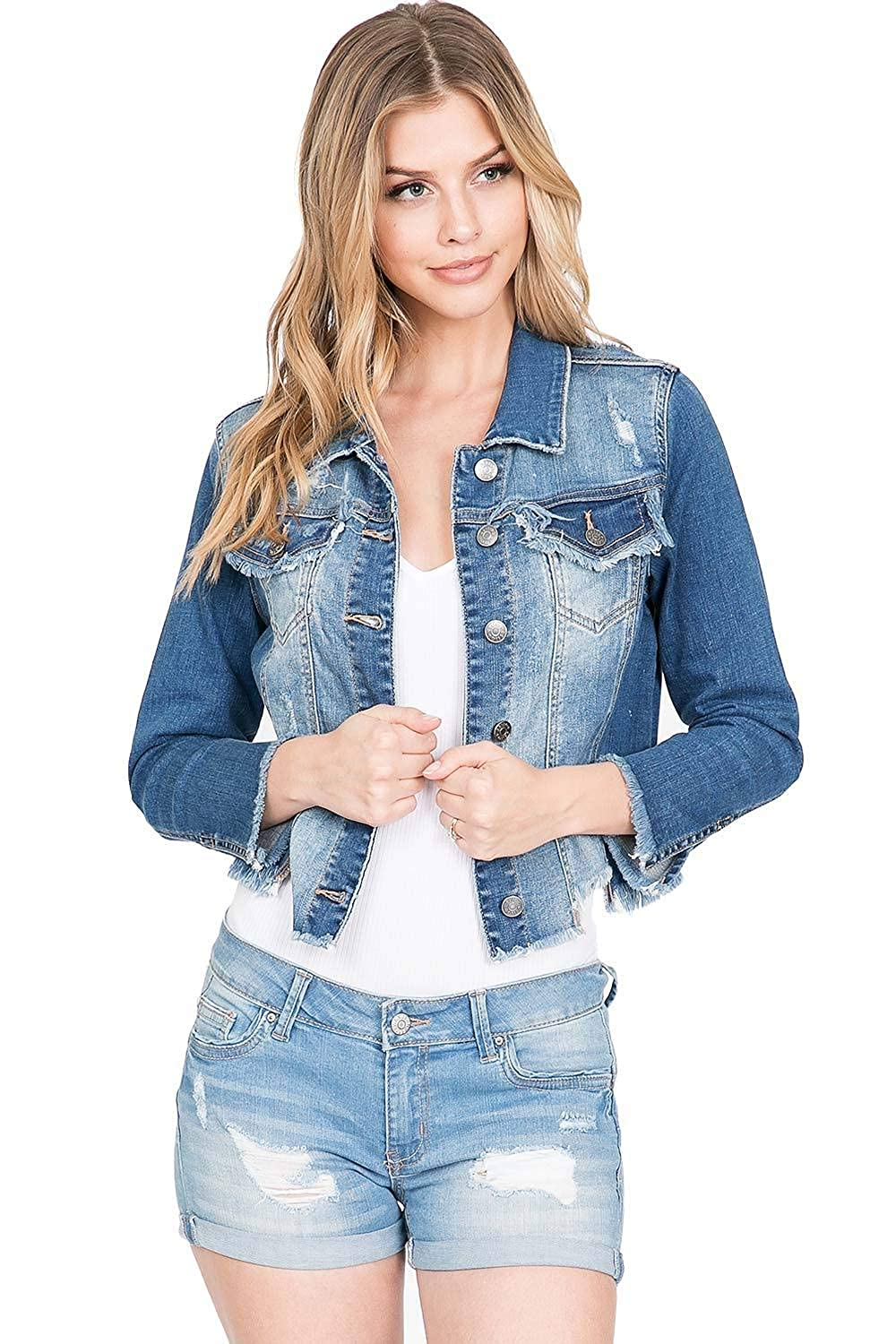 Cello Jeans Womens Distressed /& Frayed Jean Jacket