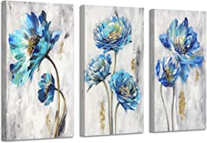 Abstract Floral Art Flower Picture: Teal Splash Gold Foil Painting Print on Canvas for Wall Decor