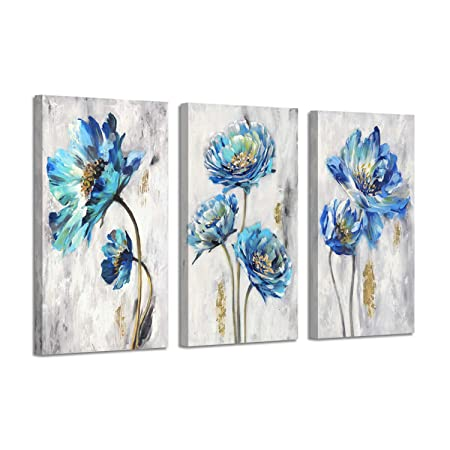 Abstract Floral Art Flower Picture Teal Splash Gold Foil Painting Print on Canvas for Wall Decor
