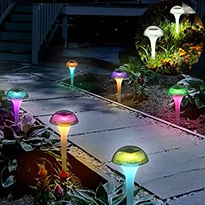 Solar Lights Outdoor Garden Waterproof,6 Pack Mushroom Solar Pathway Lights Landscape Stake lamp Color Changing Solar Lamp for Garden, Yard, Walkway, Party Decoration