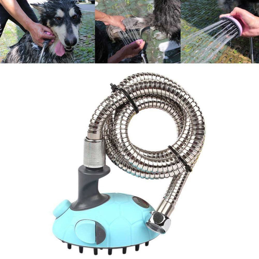 Pet Shower Bath Massager Handheld Sprayer Shampoo Brush Grooming Tool Multi-Functional Pet Cleaning Supplies for Dogs and Cats with Stainless Steel Hose (1Pcs, Blue)