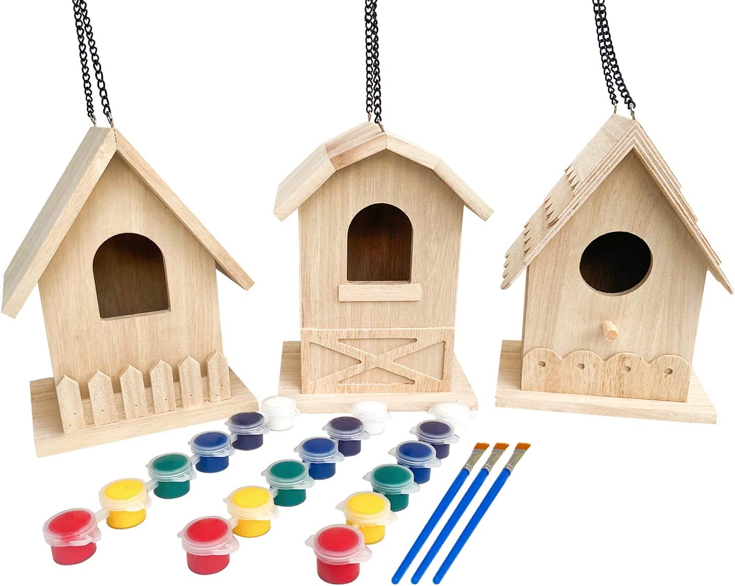 Backyard Paradise   Premium Paint Your Own Birdhouse Craft Kit   Wooden Bird House Kit (Each Includes 6 Paint Colors and Brush)   Pack of 3 Gift Set   Natural Wood
