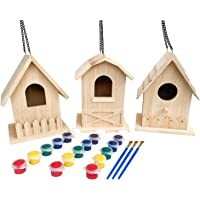 Backyard Paradise | Premium Paint Your Own Birdhouse Kit | Wooden Bird House (Each Includes 6 Paint Colors and Brush) | Pack of 3 Gift Set | Natural Wood