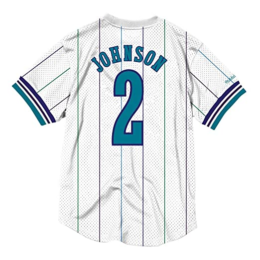 afab9d212 Amazon.com   Mitchell   Ness Larry Johnson Charlotte Hornets Printed Name  and Number Mesh Crewneck Jersey   Sports   Outdoors