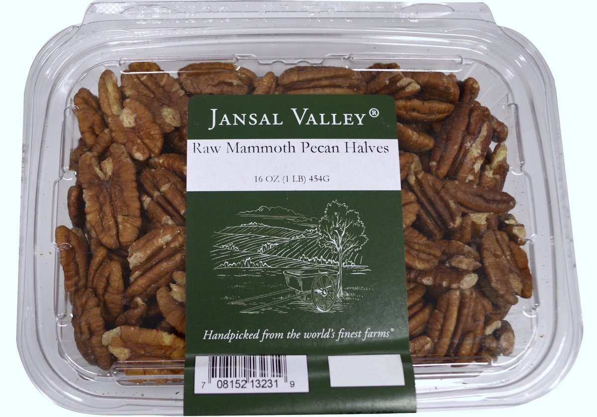 Jansal Valley Raw Mammoth Pecan Halves, 1 Pound