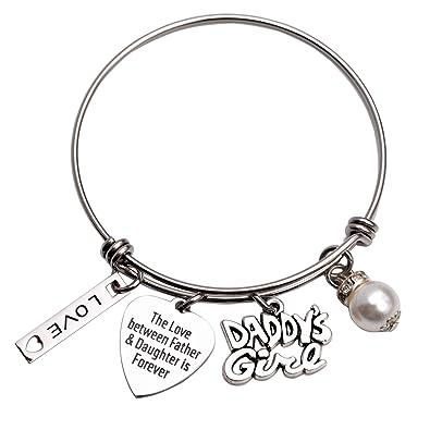 LParkin Daddys Girl Daughter Bracelet Stainless Steel Bangle Birthday Gift