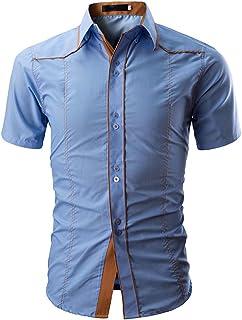 Chemises Homme Manches Courte Chemises BoutonnéEs Chemise à Manches Courtes Occasionnelle Chemise Couleur Unie HCFKJ - MS