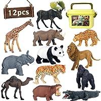 Safari Animal Toys Figures, 12 PCS Realistic Jumbo Wild Jungle Animals Figurines, Large African Zoo Animal Playset with…