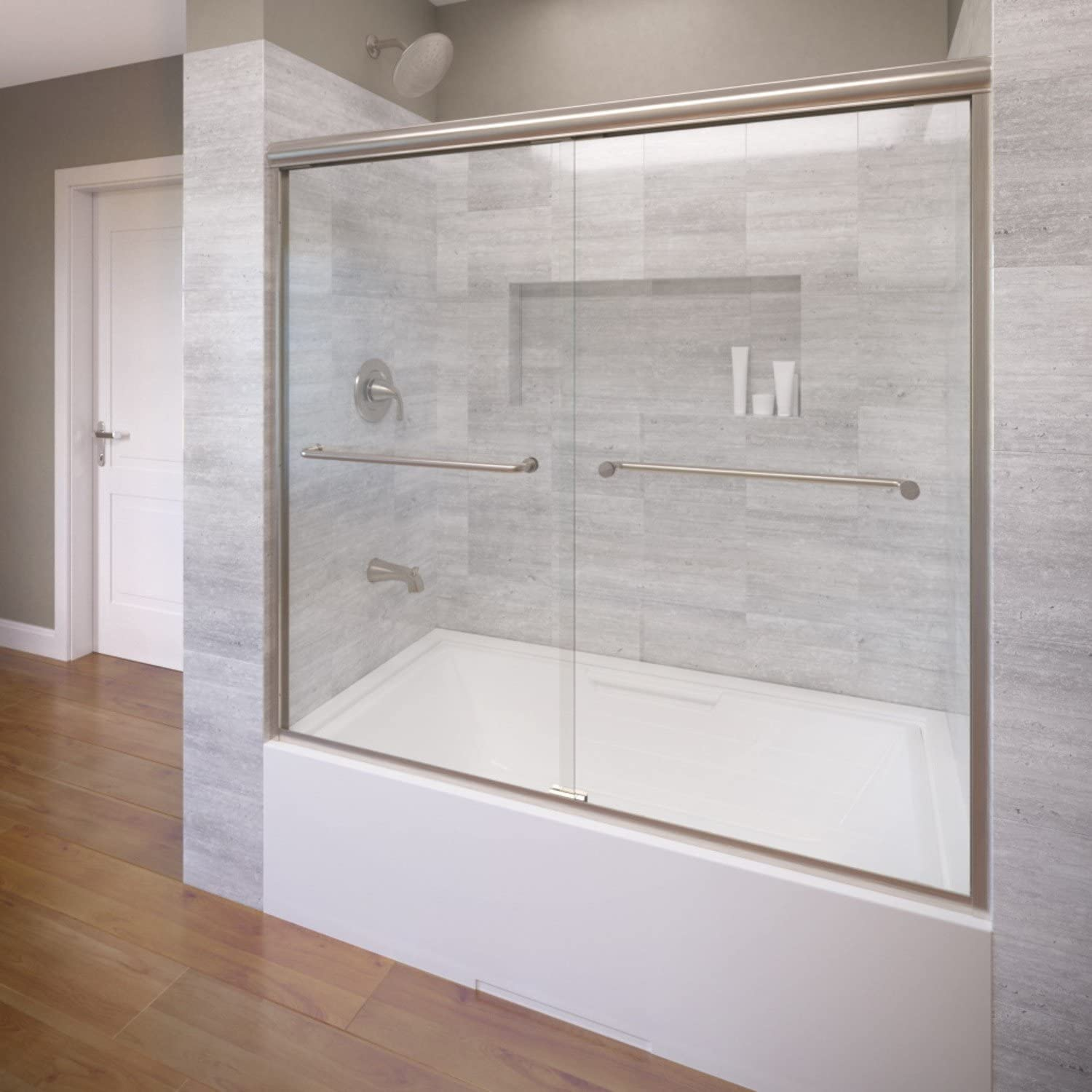 Basco Infinity Frameless Sliding Tub Door, Fits 56- 58.5 inch opening, Clear Glass, Brushed Nickel Finish