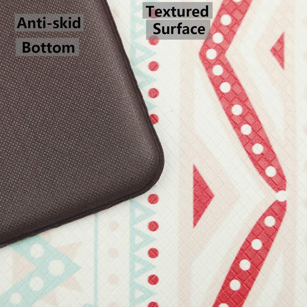 Bohemia SHACOS Anti Fatigue Kitchen Floor Mat Set of 2 Comfort Mat 10mm Thick PVC Foam Cushioned Standing Mats Kitchen Rug Waterproof Non Slip Wipe Clean 17.3x29+17.3x47 inch