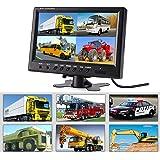 Hikity モニター 9インチ 4分割画面同時表示 オンダッシュモニター DVD/VCR /トレーラー/トラック/自動車/CCTVシステム・家庭防犯監視スクリーン対応 4RCA映像入力 バックカメラ連動12V/24V対応 リモコン付き