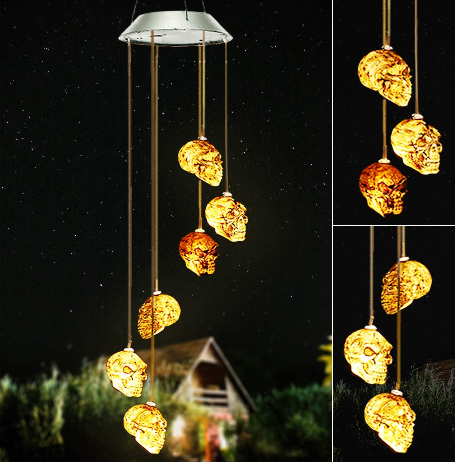 Skull Solar Wind Chimes Light,Wind Chimes Outdoors Decor for Christmas Home Party Decor Gift,Skeleton Solar Wind Chimes with 6 LED Skull Lights, Waterproof Wind Chimes Lights for Indoor/Outdoors Decor