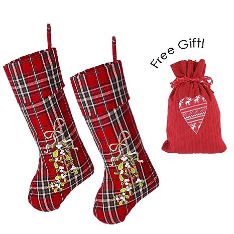 Scoprire enorme sconto scarpe classiche 2 grande tartan calze di Natale + free Gift Sack - Set di ...