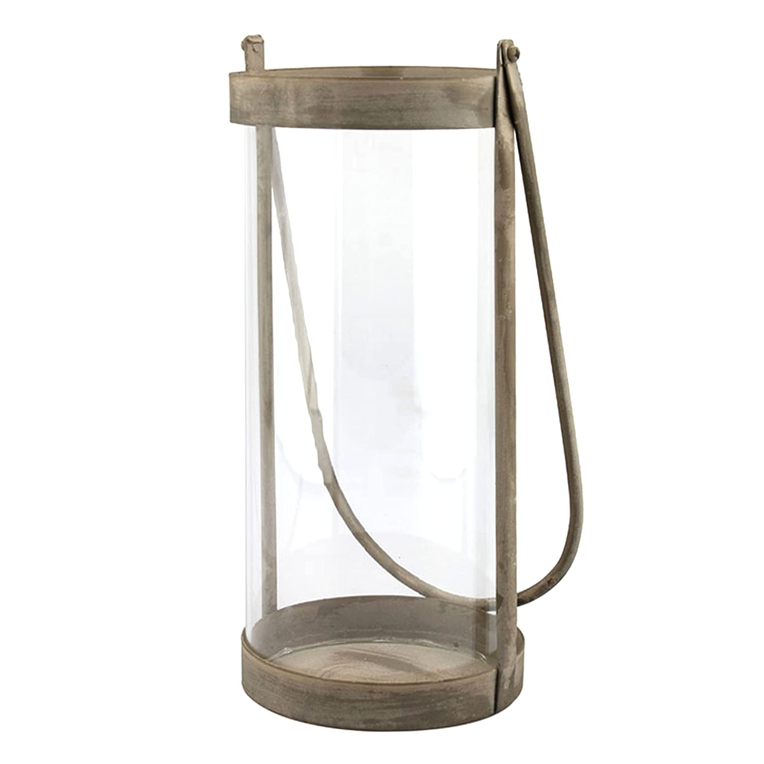 Stonebriar Industrial Glass Cylinder Hurricane Candle Lantern with Rustic Zinc Metal Frame and Handle, Decorative Home Decor Accents for Centerpiece, Mantel Decoration, or Relaxing Spa Atmosphere