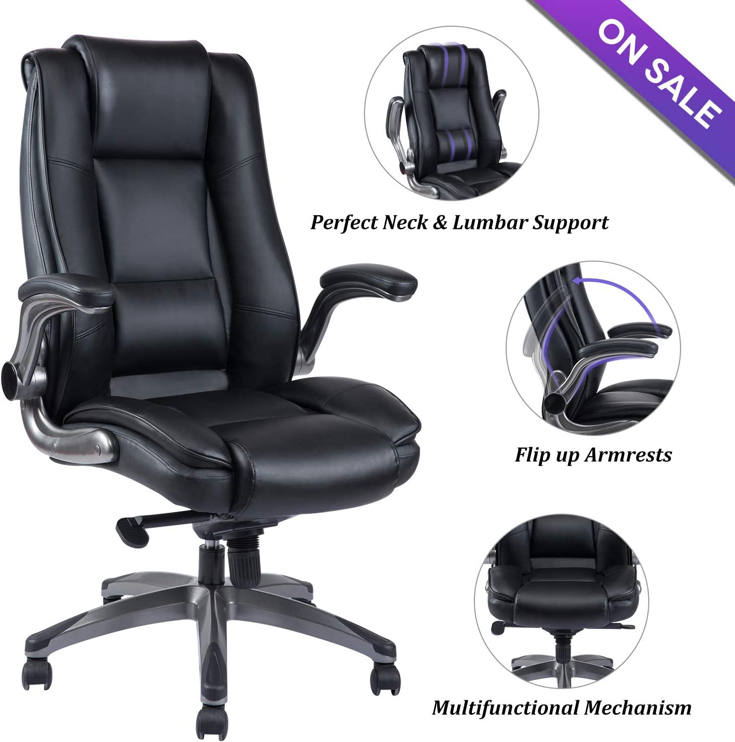 VANBOW High Back Leather Office Chair - Adjustable Tilt Angle and Flip-up Arms Executive Computer Desk Chair, Thick Padding for Comfort and Ergonomic Design for Lumbar Support, Black