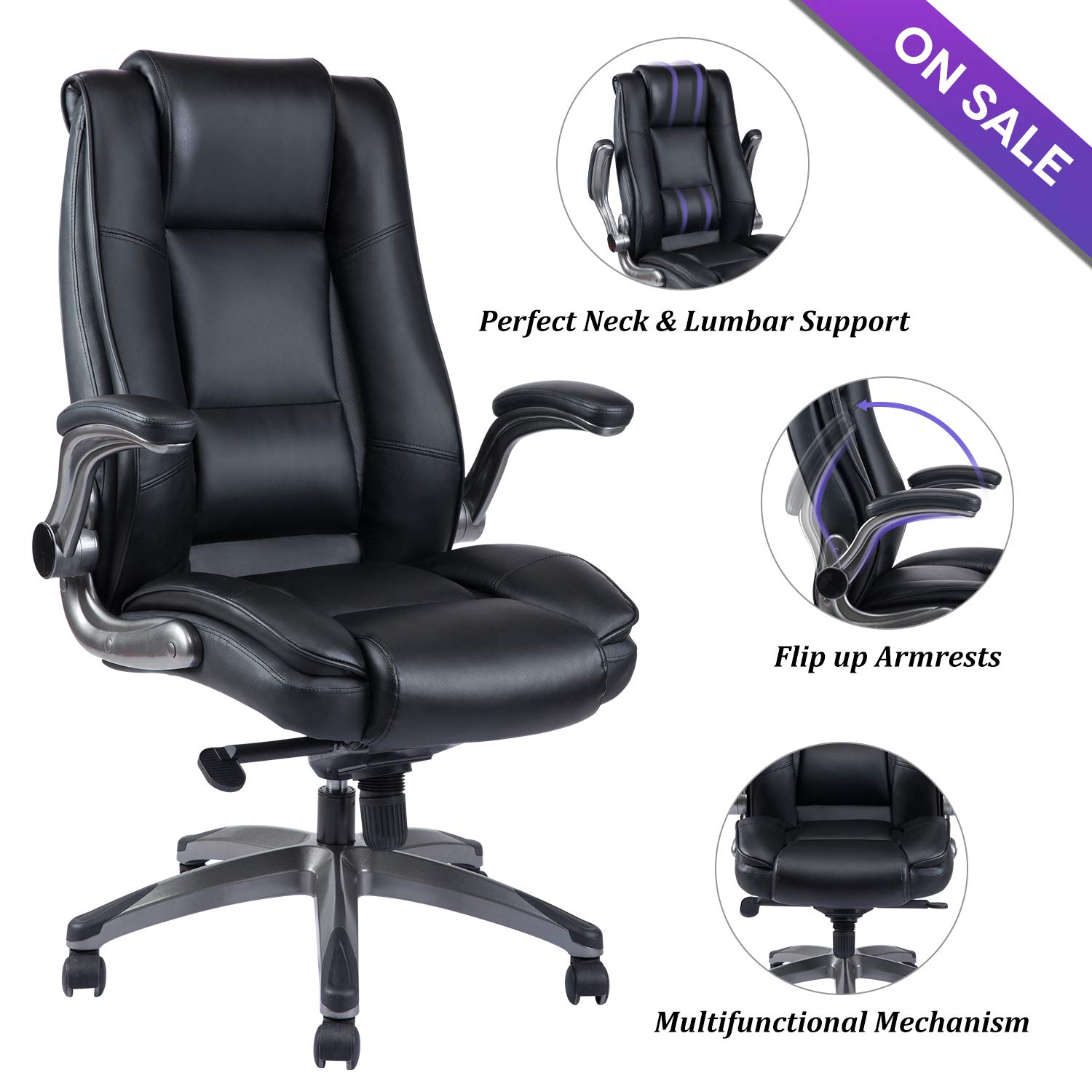 VANBOW High Back Leather Office Chair - Adjustable Tilt Angle and Flip-up Arms Executive Computer Desk Chair, Thick Padding for Comfort and Ergonomic Design for Lumbar Support, Black by VANBOW