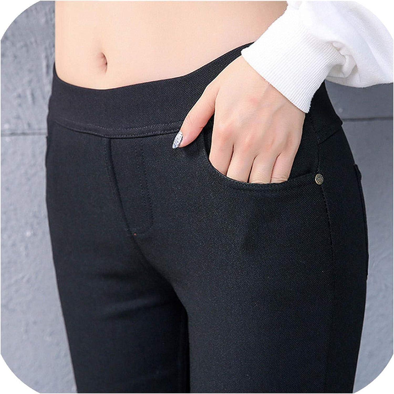 New Womens Autumn Winter Warm Pencil Pants Gold Velvet Elastic Studs Pocket Leggings Pants Plus Size Pants