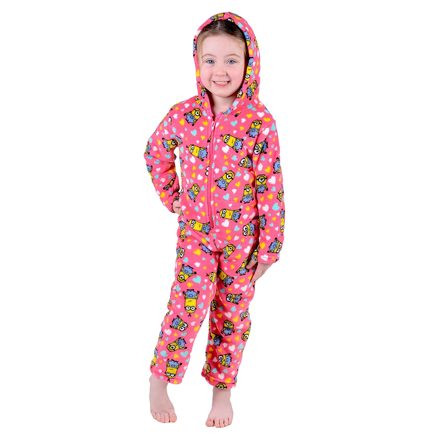 Childrens Girls Pink Despicable Me Minion All In One Pjyama PJs Nightwear Onesie