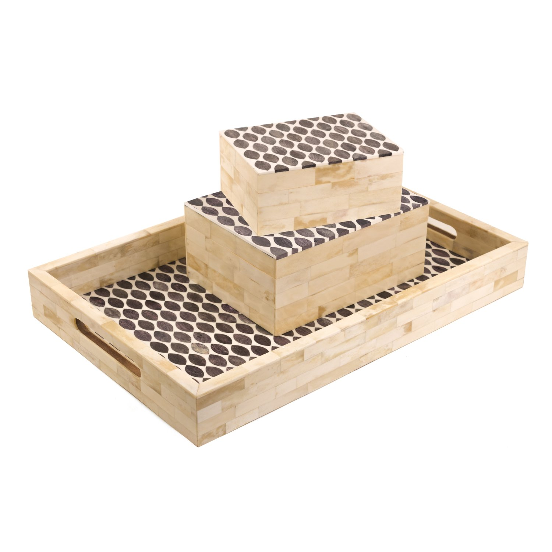 Eccolo World Traveler Naturals Decorative Inlayed Keepsake Box Medium Ovals Gray