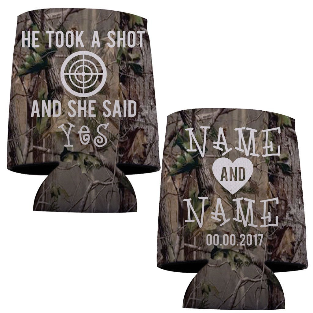 Custom Camouflage Wedding Can Cooler- He Took A Shot (150) by VictoryStore